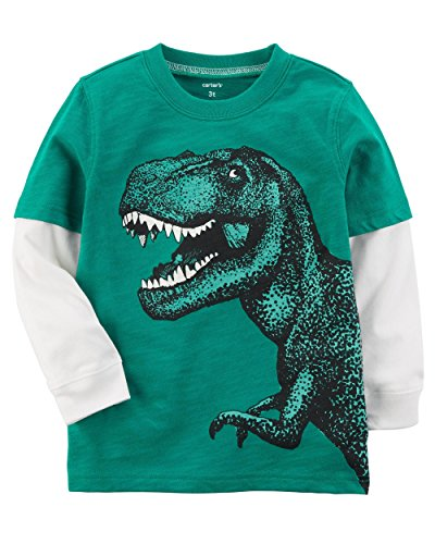 Carter's Baby Boys Long-Sleeve Layered-Look Tee (Green T Rex, 3M) (Green Layered Tee)