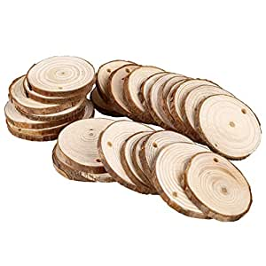 Soledi 30pcs natural wood slices round discs for Wood circles for crafts