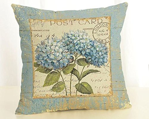 Pillow Cover Blue white hydrangea flowers french country vintage postcard retro style square linen cushion -