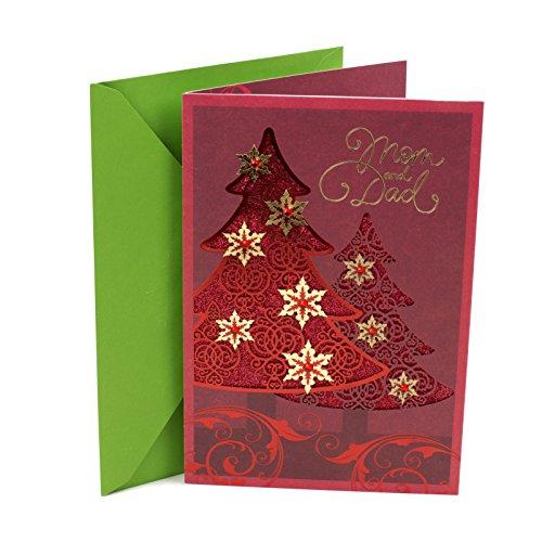 Hallmark Christmas Card for Mom and Dad (Red Foil Tree) (Greetings Christmas Mom For Card)