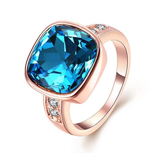 Kalapure Rhinestone Blue Cushion-cut Cubic Zirconia Romantic Ring (6, rose-gold-plated-base) Montana Christian Fish