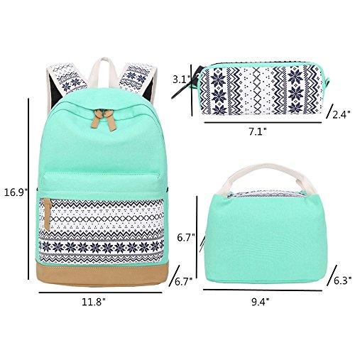 School Backpacks for Teen Girls Lightweight Canvas Backpack Bookbags Set (Light Green) by CAMTOP (Image #4)
