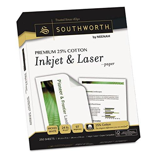 Southworth Premium 25% Cotton Inkjet/Laser Paper, White, 97 Bright, 24lb, Letter, 250/Pack