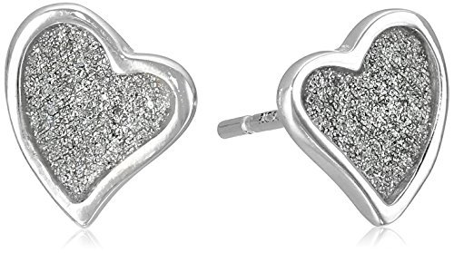 Sterling Silver Glitter Heart Earrings