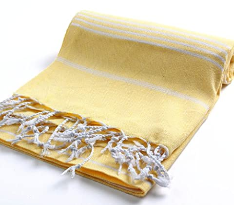 Pestemal Turkish Bath Towels 37x70 %100 CottonTM by Cacala Yellow - Pool Spa Design