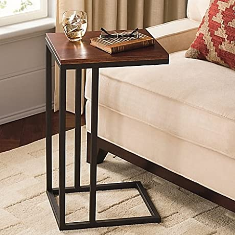 Contemporary Style Black And Tan Hamilton Narrow C Table Constructed From Powder Coated Steel With Wooden Top Perfect For Use As An Accent Table Or Work Station