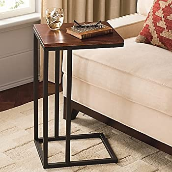 Contemporary Style Black And Tan Hamilton Narrow C Table Constructed From  Powder Coated Steel With