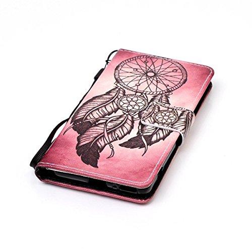 Funda Sony XA, Funda de cuero para Sony XA, Lifetrut [Tragamonedas en efectivo] [Sostenedores de la tarjeta] Magnetic Flip Folio billetera funda carcasa con correa para Sony Xperia XA [mariposa] E209-Atrapasueños