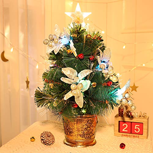 Unomor Tabletop Christmas Tree with LED Star Treetop, Mini Artificial Christmas Tree with Fiber Optic Lights and Silver Berries for Christmas Decorations - 20 Inch Christmas Bells Not Include (Tree Pre Decorated Tabletop Christmas)