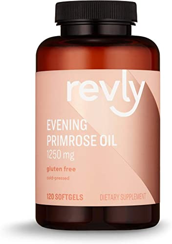 Amazon Brand – Revly Cold-pressed Evening Primrose Oil, 1250 mg, 120 Softgels, 4 Month Supply, Satisfaction Guaranteed