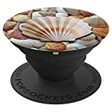 Jame's Designs: Seashell w/ Seashells Background PopSocket - PopSockets Grip and Stand for Phones and Tablets