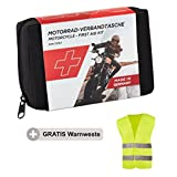 Golab Motorcycle First Aid Kit–Small and Compact HSE First Aid Kit DIN 13167including Warning Vest Fits All European Countries (Austria Switzerland Italy, Germany etc.)