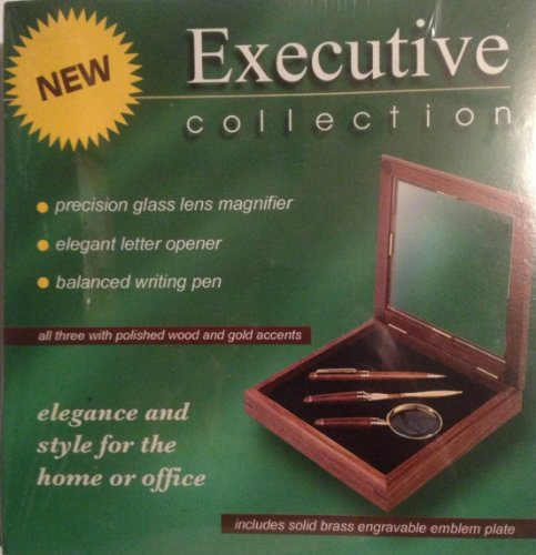 Executive Collection 3 piece Pen, Pencil and Letter Opener in a Walnut Wood and Glass Case