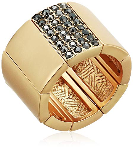 (T Tahari Women's Stretch Cigar Band Ring, Gold, Expandable)