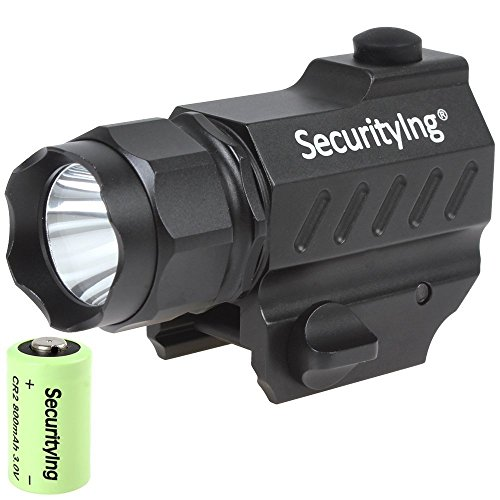 SecurityIng-High-Power-400-Lumens-Mini-LED-Gun-Mounted-Tactical-Flashlight-30V-800mA-CR2-Battery