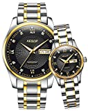 Swiss Men Women Automatic Mechanical Watch Couple Sapphire Glass Watches for Her or His Gift Set 2 (Black)