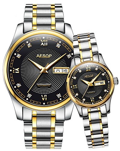 Swiss Men Women Automatic Mechanical Watch Couple Sapphire Glass Watches for Her or His Gift Set 2 (Black) by MASTOP