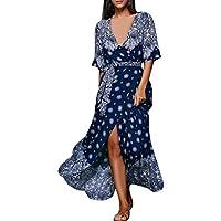 HOT SALE !Blue Casual Long Dress,BeautyVan 2017 HOT Fashion Beautiful Charming Sexy Sexy Women Half Sleeve Printed V Neck Beach Party Casual Long Dress (M, Blue)