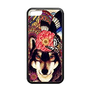meilz aiaiColorful Wolf Brown Retro Design Hand Drawing Style Custom Luxury Cover Case For Iphone 5C(Black) with Best Silicon Rubbermeilz aiai