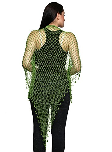- Soami Womens Crochet Scarf Knitted Crochet Triangle Scarf in Green Color