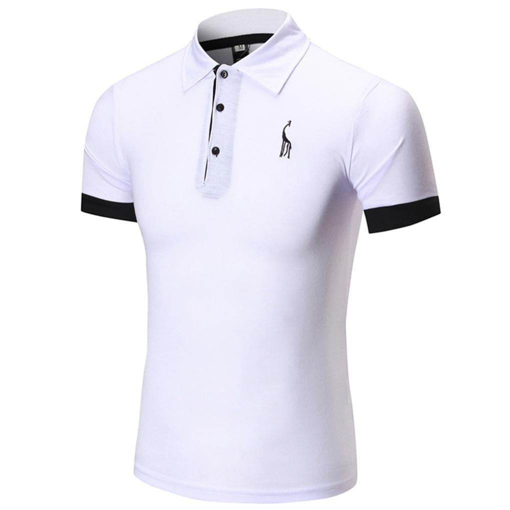 8c88fd5fcbdc Homebaby Camicia Uomo Elegante Polo Estivi Maglietta Manica Corta Casual - T -Shirt Sportivi Vintage Cotone Maglione ...