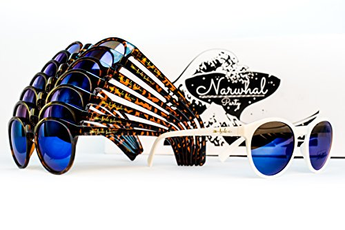 Bride Tribe Sunglasses by Narwhal Party - 1 Pair of White and 7 Pairs of Tortoise Shell Glasses with Blue Mirror Lenses are Perfect for Bridesmaids, Bridal Party Favors, and -