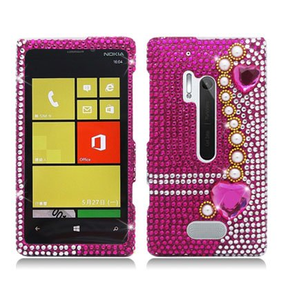 For Nokia Lumia 928 (Verizon) Luxury Full Diamond, Pearl Pink - Pearl Nokia Faceplates