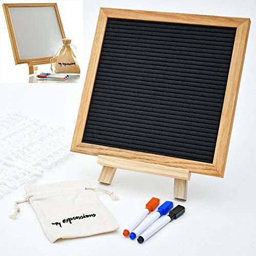 - GoldinComp 2 in 1 Letter Board and Dry Erase White Board 10x10 Inches, Oak Frame, 340 White Plastic Letters, 3 Markers with Eraser Tip and Stand