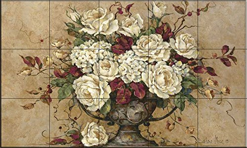 Ceramic Tile Mural - Autumn Rose - by Barbara Mock - Kitchen backsplash / Bathroom shower Barbara Mock Roses