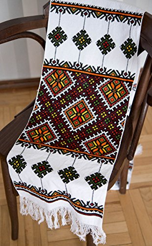 200 x 33 cm Ukrainian wedding RUSHNYK Hand Cross-titch Embroidered Towel White HUTSUL Slavic (Bread Cloth Cross Stitch Patterns)