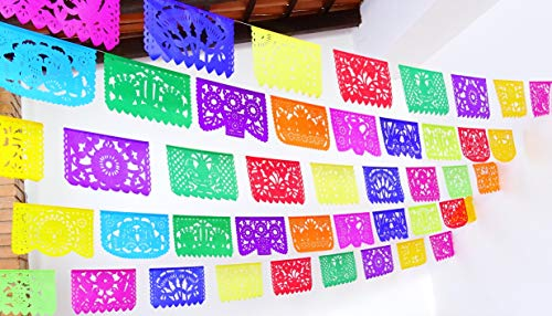 5 Pk Mexican Fiesta Decorations, Papel Picado Banner 60 ft total, Papel Picado tissue PAPER garland, Mexican theme party supplies for Weddings, Birthdays, Taco Mexican Paper Flags Paper Picado WS100 ()