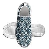 DiamondsJun Unisex Floral Ornamental Damask Pattern Victorian Style Baroque Organic Motifs Stencil All Over 3D Printed Mesh Slip On Fashion Comfortable Shoes 43