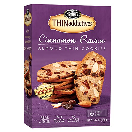 Almond Cinnamon Cookies (Nonni's THINaddictives, Thin Cookies, Cinnamon Raisin Almond, 6 Count, 4.4 Ounce)