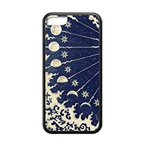 Canting_Good Black Sun and Moon Custom Case Shell Skins for iPhone 5C TPU (Laser Technology)