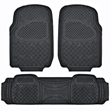 BDK MaxDuty Rubber Floor Mat for Car, SUV,Van & Truck - Super Heavy Duty Rubber, Trim to Fit & 3 Piece (Black)