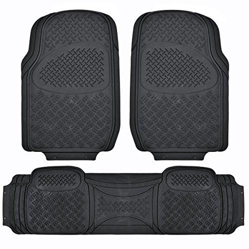 BDK MaxDuty Rubber Floor Mat for Car, SUV,Van & Truck – Super Heavy Duty Rubber , Trim to Fit & 3 Piece (Black)