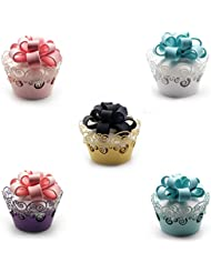 Cupcake Wrappers ,KEIVA 100 Pack Cupcake Wraps in 5 Colors Filigree Artistic Bake Cake Paper Cup Little Vine Laser Cut Liner Baking Cups Holder for Wedding Party Birthday Decoration (Style 2)