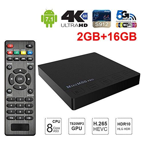 Sawpy MINI M8S PRO-C Smart tv box Android 7.1 Amlogic S912 2GB+16GB BT 4.0 2.4/5 Dual-Band WiFi 4K UHD & LAN VP9 DLNA H.265 by Sawpy