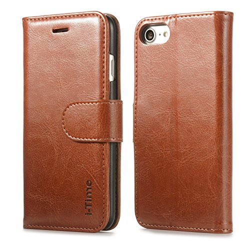 iPhone 7 Case, iPhone 7 Wallet Case, I TIME Leather Wallet Case [Card Slot] [Wallet] with Flip Cover and Stand Magnetic Closure Cover Case for Apple iPhone 7 - (Time Brown Leather)