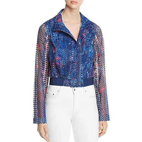 Elie Tahari Womens Suri Fall Silk Crochet Bomber Jacket Navy M - Tahari Silk Suit