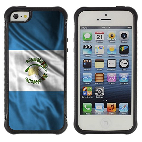 (FJCases Guatemala Guatemalan Waving Flag Shockproof Anti-Slip Soft Rubber Case Cover for Apple iPhone SE / 5 / 5S)