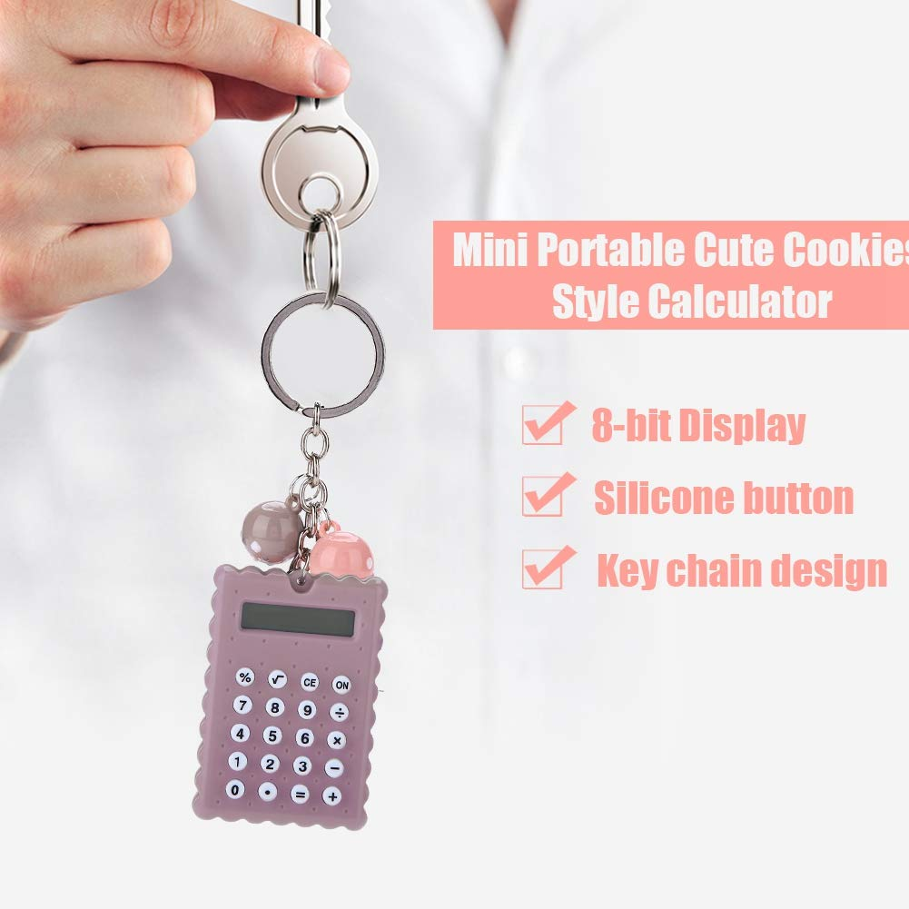 Gray Purple ASHATA Mini Calculator with Key Buckle,Portable Cute Cookies Style Key Chain Calculator,Student Pocket Calculator with Candy Color