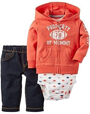 Baby Boys' 3 Piece Cardigan Set Property of Mommy 12M