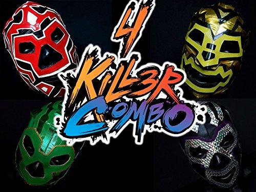 [SUPER STARS 4 WRESTLING MASKS COMBO WRESTLING LUCHADOR COSTUME WRESTLER LUCHA LIBRE MEXICAN MASKE] (666 Halloween Costume)