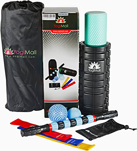 YogiMall All-In-One Massage & Fitness 10 Piece Mobility Kit –Dual Foam Rollers, Massage Stick, Lacrosse, Spiky Ball, 3 Resistance Loop Bands & 2 Carry Bags - Everything you need for Total Body Massage