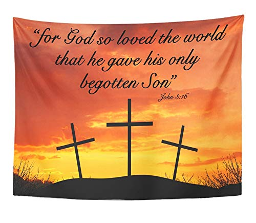 Emvency Tapestry Artwork Wall Hanging Christian Motivational Quote Saying for God So Loved The World That He Gave His 60x80 Inches Tapestries Mattress Tablecloth Curtain Home Decor Print