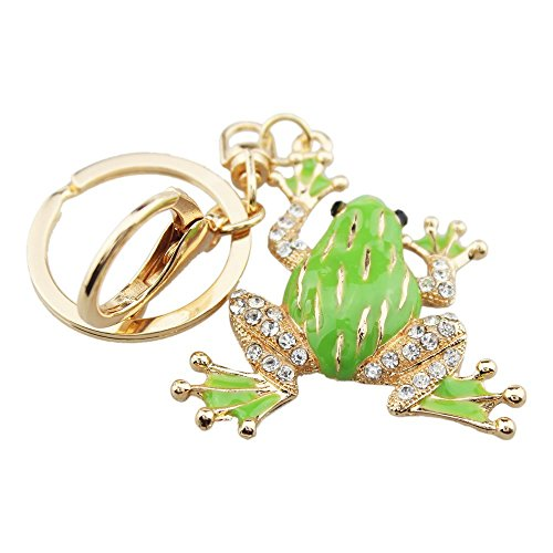 - Fashion Green Frog Rhinestone Chinese Style Alloy Car/Bag Keychain for Women Girls (Green)