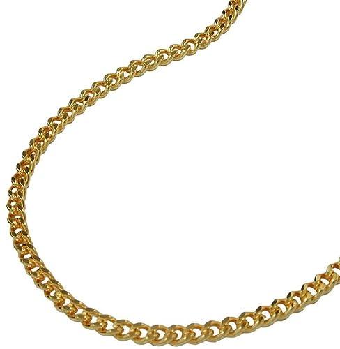 b2e47db4df19 Unbespielt Modeschmuck Kette Halskette Panzerkette vergoldet 2 x diamantiert  für Frauen Länge 50 cm x 1,6 mm Anhängerkette Double Kette Damen   Amazon.de  ...