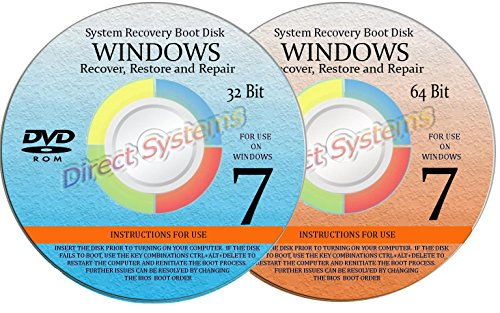 2 BOOT DISKS for WINDOWS 7 SEVEN SYSTEM REPAIR (32 & 64 BIT) DISK Used for RESTORE & RECOVERY by DirectSystems