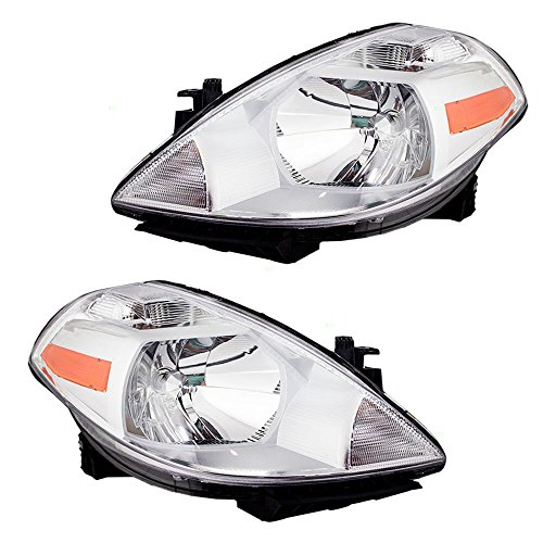 Pair Set Halogen Combination Headlights Headlamps Replacement for Nissan Versa 26060-EM30A 26010-EM30A